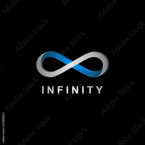 Fototapeta 3D realistic infinity symbol logo.
