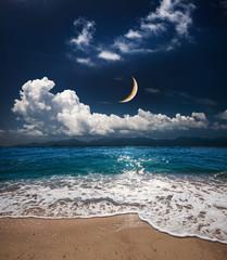 Panel Szklany Podświetlane Do sypialni sea and moon
