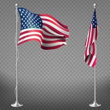 Vector 3d Realistic Flags Of U...
