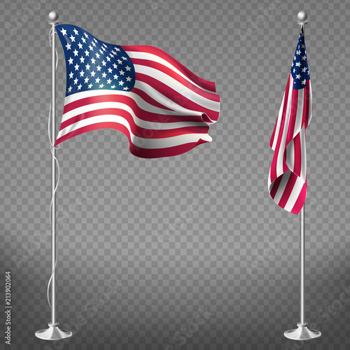 a57a57038950 Vector 3d realistic flags of United States of America on steel poles  isolated on transparent background. National symbol of USA