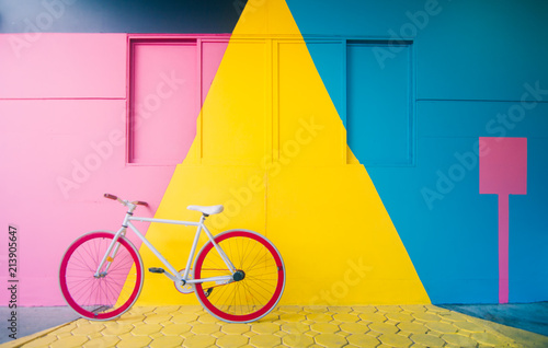 Aluminium Prints Bicycle Bicycle with Pastel Background