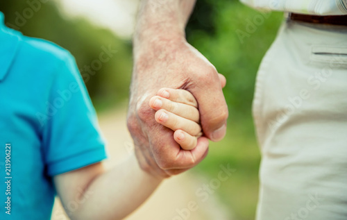 Fotografiet  Child holding hand of senior man over a nature background