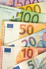 Nahaufnahme Von Verschiedenen Euro Geldscheinen