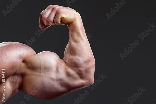 Fotografia, Obraz bodybuilding naked male arm with biceps on grey background