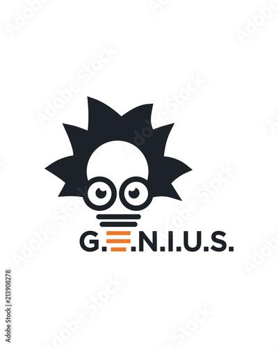 Genius mind, brain logo template Wallpaper Mural