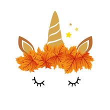 Magic Unicorn And Autumn