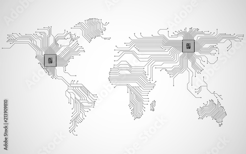 Abstract world map with cpu  Circuit board  Technology