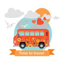Bus Tour. Funny Vector Illustr...