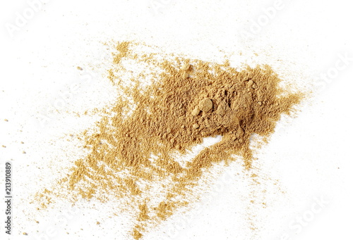 Fototapeta Ginger powder isolated on white background, top view (Zingiber officinale) obraz