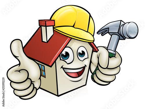 Photo  House Construction Worker Cartoon Character
