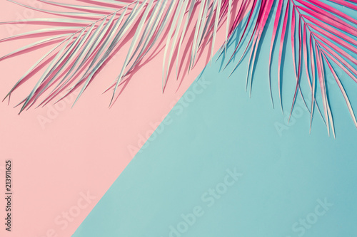 Photo  Painted palm leaves on pastel pink and blue background with copy space