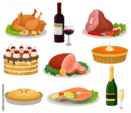 Flat vector set of traditional holiday food and drinks Canvas Print