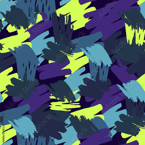 Poster Geometrische dieren Abstract seamless vector pattern for girls, boys, clothes. Creative background with dots, geometric figures Funny wallpaper for textile and fabric. Fashion style. Colorful bright