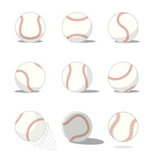 Set Of Baseballs, Softball Is An Illustration Of A Baseball In Nine Styles Isolated On White Background. Sport Equipment Concept Design. Vector Illustration.