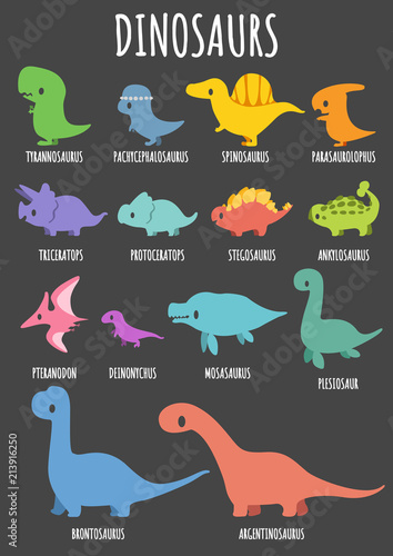 Fotomural Set of colorful cute dinosaurs character with lettering