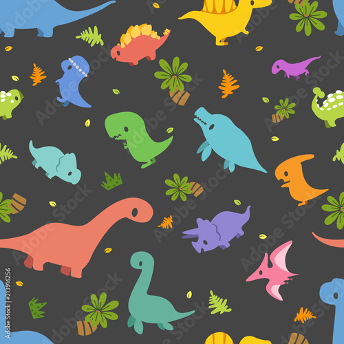 Fotografía Dinosaur vector seamless pattern, Different type of cute cartoon dinosaurs on black background