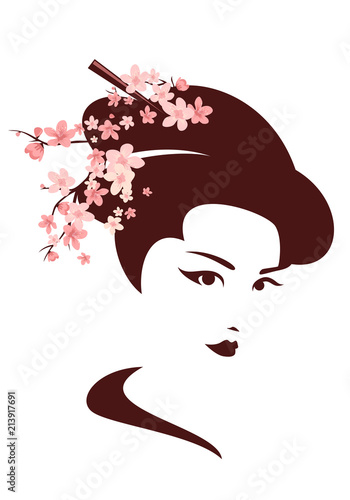 japanese geisha among cherry tree blossom vector portrait Fototapet