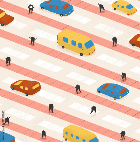 Staande foto Cartoon cars Vans, cars and people stuck in traffic crossing the road