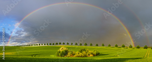 double, beautiful, multi-colored rainbow after passing a spring downpour over a green field