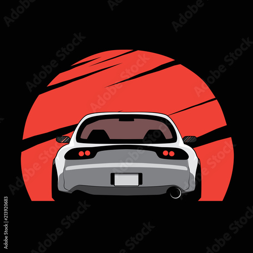 Zdjęcie XXL Cartoon japan tuned car on red sun background. Back view. Vector illustration