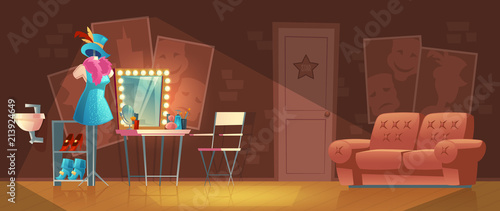 Valokuva  Vector cartoon illustration of empty dressing room, wardrobe with furniture, dresser with makeup mirror, stand with stage costume