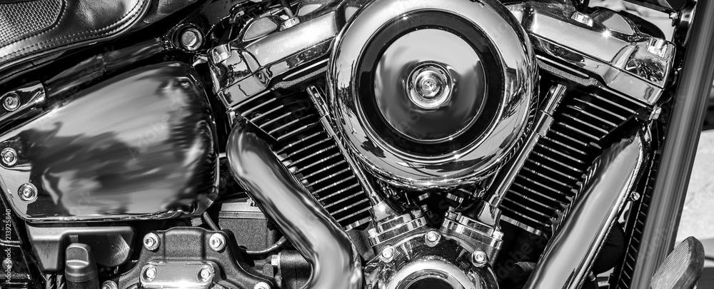 Fototapeta panorama of a shiny motorcycle engine