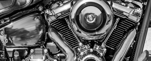 Photo panorama of a shiny motorcycle engine