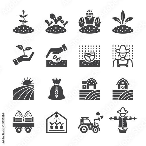 Fotografie, Obraz  Plantation agriculture icon set