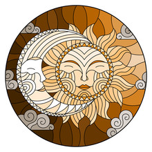 Illustration In Stained Glass Style , Abstract Sun And Moon In The Sky,round Image,tone Brown