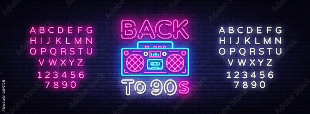 Fototapeta Back to 90s neon poster, card or invitation, design template. Retro tape recorder neon sign, light banner. Back to the 90s. Vector illustration in trendy 80s-90s neon style. Editing text neon sign