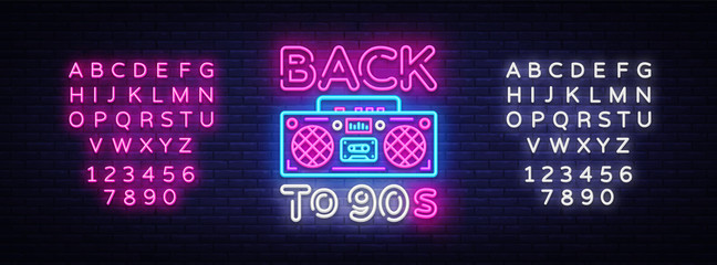 Back to 90s neon poster, card or invitation, design template. Retro tape reco...