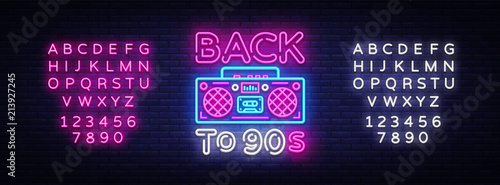 Fototapeta Back to 90s neon poster, card or invitation, design template. Retro tape recorder neon sign, light banner. Back to the 90s. Vector illustration in trendy 80s-90s neon style. Editing text neon sign obraz