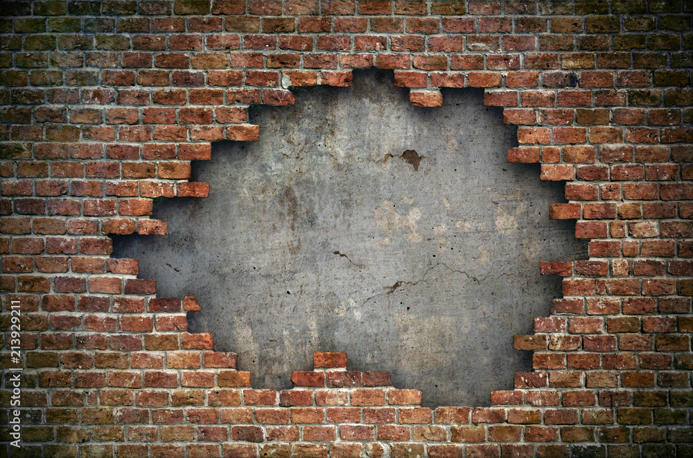 Fototapety, obrazy: Old red brick wall damaged background