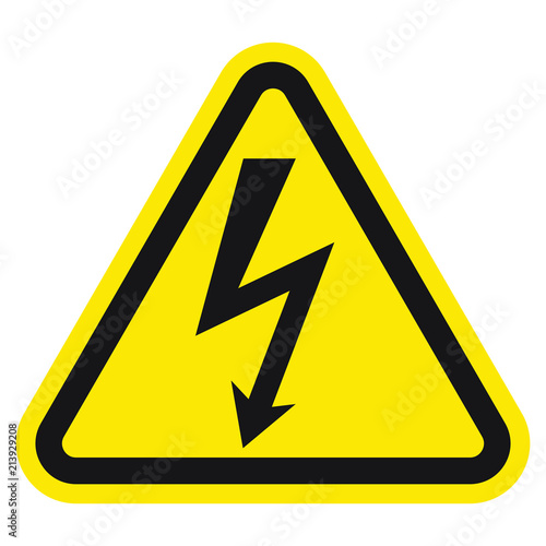 Photo High voltage sign with lightning