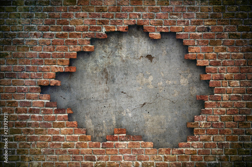 Old red brick wall damaged background - 213929211
