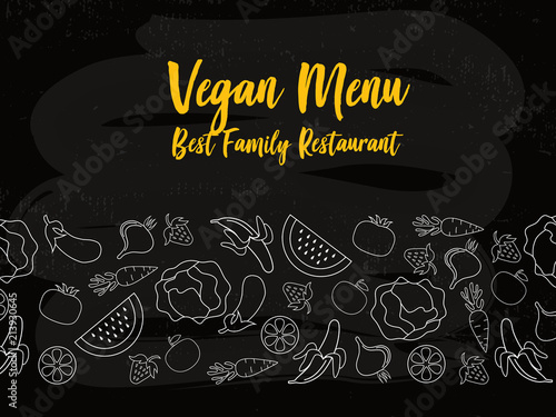 Menu Cover Typography Poster Template Text And Food Symbols On