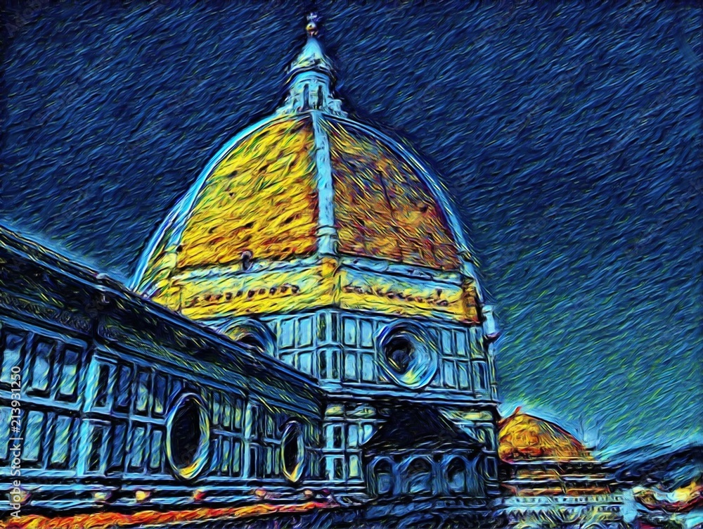 Florence Cathedral in Tuscany, Italy. Italian architecture. Big size oil painting fine art. Van Gogh style impressionism drawing artwork. Creative artistic print for canvas or poster.