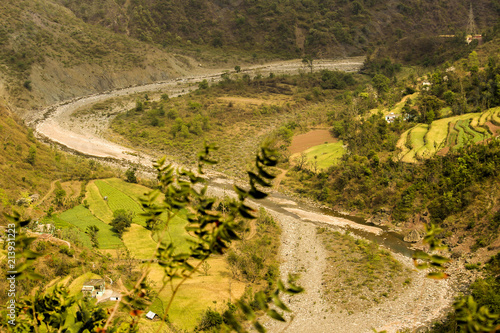 Foto op Canvas Honing A river with plough both side top view