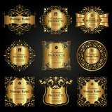 Vector set of luxury ornamental gold label in vintage style
