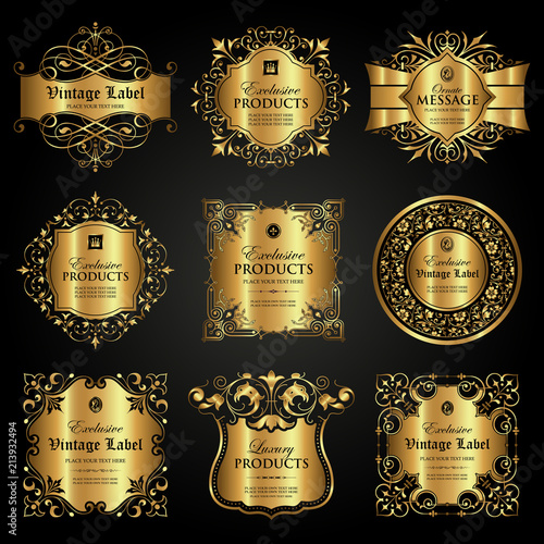 Fototapety, obrazy: Vector set of luxury ornamental gold label in vintage style