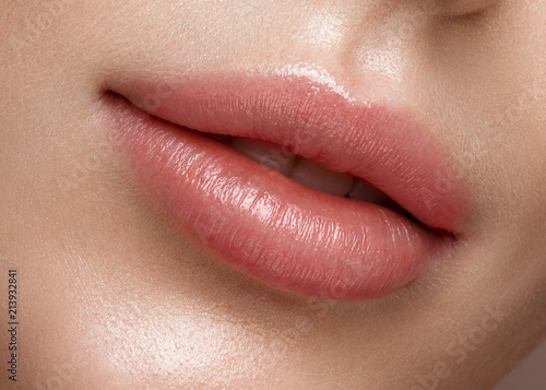 Natural lips close up. Photo shot in the studio Poster Mural XXL