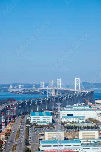 Garden Poster London Seto Ohashi Bridge and Industrial Complex in the seto inland sea,Kagawa,Shikoku,Japan