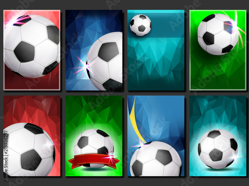 Soccer Game Poster Set Vector Empty Template For Design Modern
