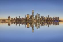 Manhattan Skyline At Dusk, New...