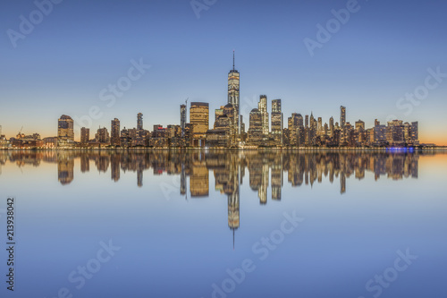 Manhattan skyline at dusk, New York City, USA