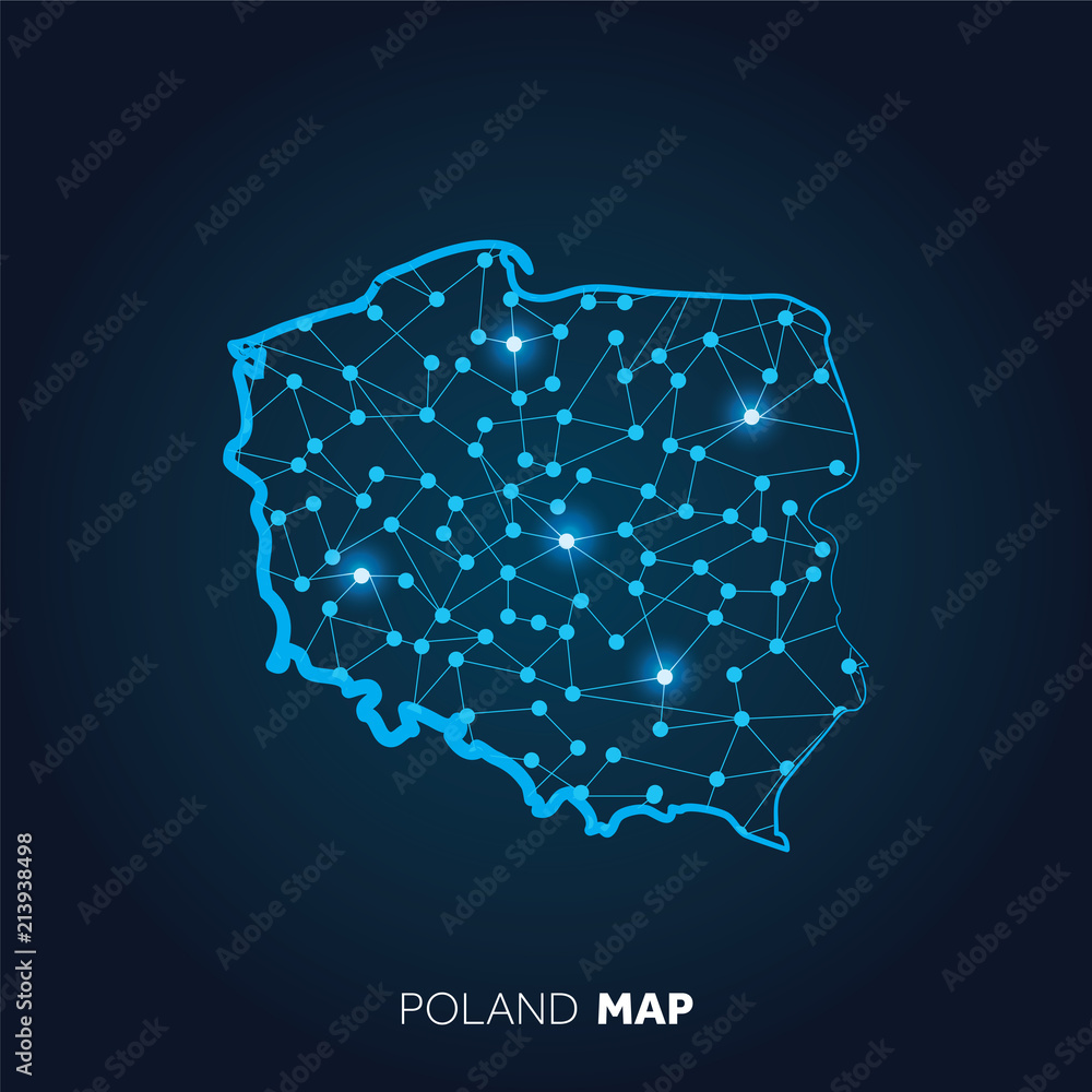 Fototapeta Map of Poland made with connected lines and glowing dots.