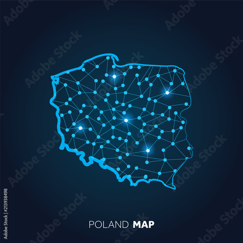 Fototapeta Map of Poland made with connected lines and glowing dots. obraz