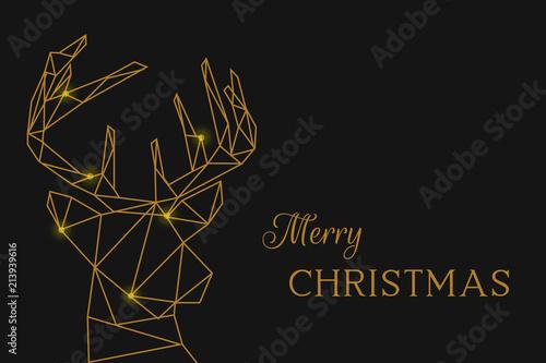 Złoty łoś głowa i poroże z czcionką Wesołych Świąt
