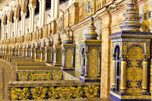 Artistique Ceramic tiles with colored ornaments on Plaza de Espana in Seville, Andalusia, Spain