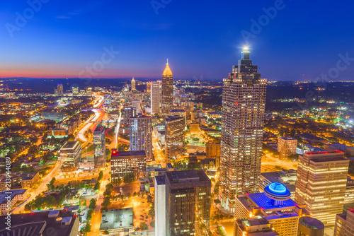 Keuken foto achterwand Verenigde Staten Atlanta, Georgia, USA downtown aerial skyline at night.